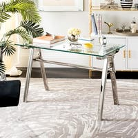 Safavieh Couture Elza Polished Stainless Steel Glass Top Desk