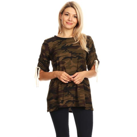 Women's Camouflage Pattern Short Sleeve Top
