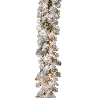 9 ft. Snowy Camden Garland with Clear Lights