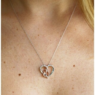 Link to Annello by Kobelli 10k Two Tone Gold Parent and Child Diamond Heart Necklace Similar Items in Necklaces
