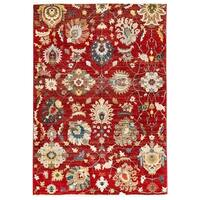 Antique Flowers Red Area Rug - 7'10 x 10'