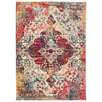 Scalloped Emblem Ivory/Red Wilton Woven Area Rug (9'6 x 12'8)