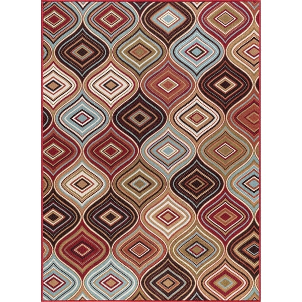 Alise Rugs Majolica Contemporary Geometric Area Rug - multi - 5' x 7'