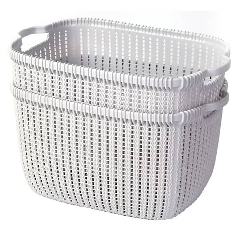 Plastic Wicker Basket Grey Large, Set of 2