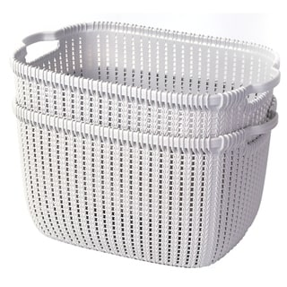 Link to Plastic Wicker Basket Grey Large, Set of 2 Similar Items in Patio Furniture