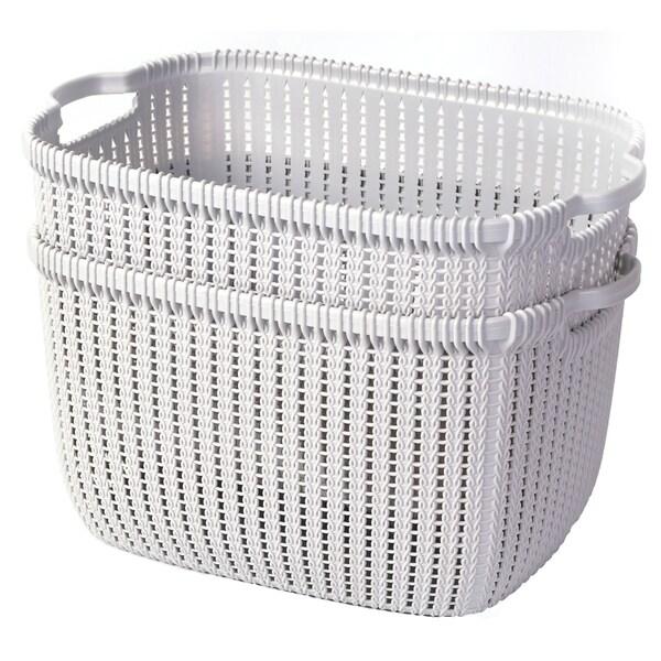 Plastic Wicker Basket Grey Large, Set of 2. Opens flyout.