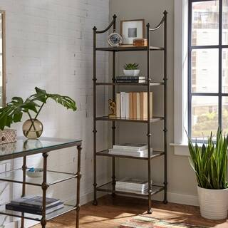 harper blvd hortin metal and antiqued mirror etagere - Gold Bookshelves