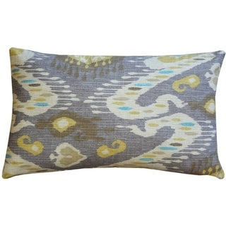 Pillow Decor - Solo Gray Ikat Throw Pillow 12x20