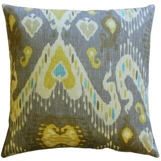 Pillow Decor - Solo Gray Ikat Throw Pillow 20x20