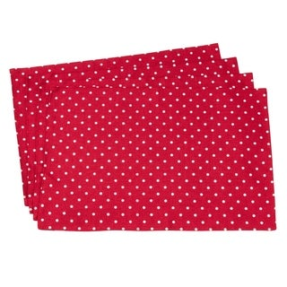 "Red And White Polka Dot Table Mats (Set of 4) - 13""x19"""