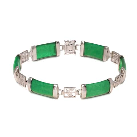 Curata Rhodium-Plated 925 Sterling Silver 7.25-inches Jade or Onyx Asian Script Link Bracelet (4 colors)