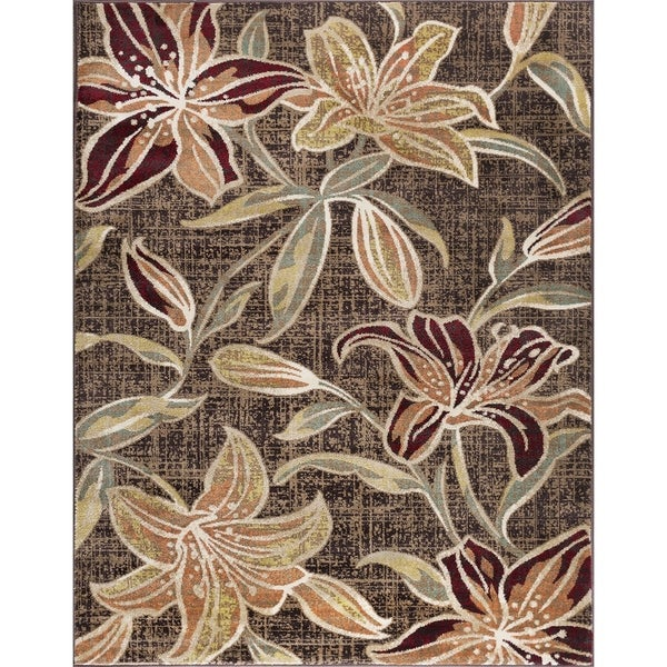 Alise Rugs Decora Transitional Floral Area Rug - 9'3 x 12'6