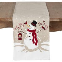 Christmas Table Runner With Happy Snowman Design