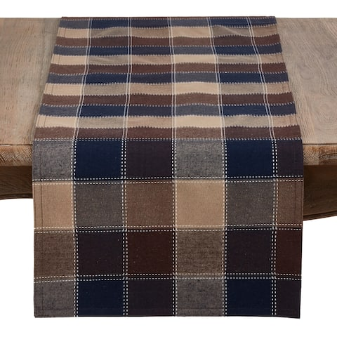 Stitched Plaid Cotton Blend Table Runner