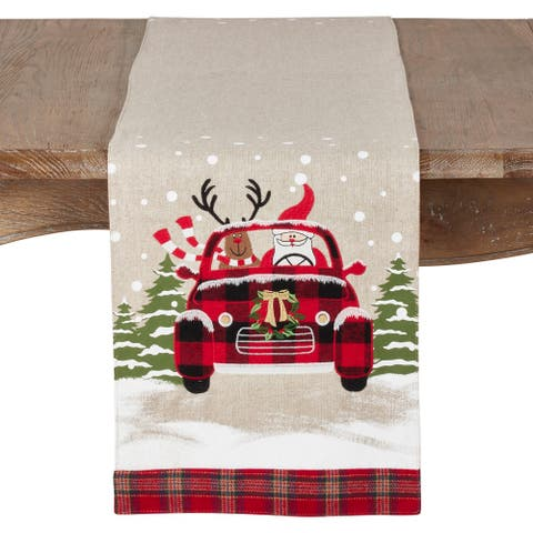 Christmas Runner with Santa and Reindeer Car Design