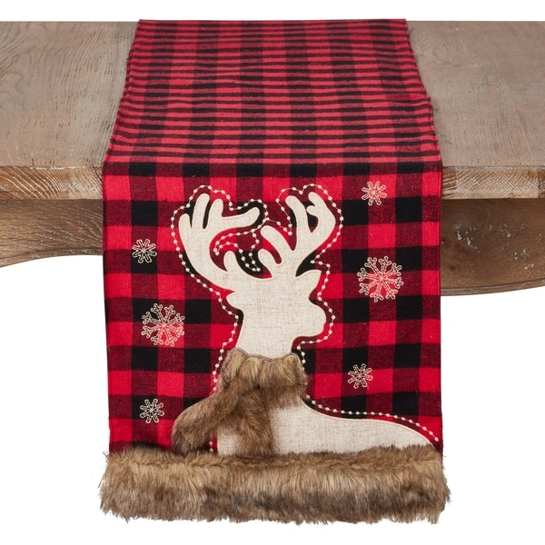 Shop Holiday Runner With Plaid And Faux Fur Reindeer