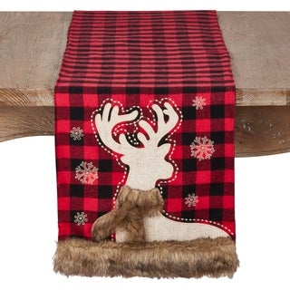 Holiday Runner With Plaid And Faux Fur Reindeer Design