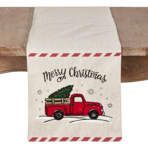 Christmas Table Runner with Red Truck and Merry Christmas Design