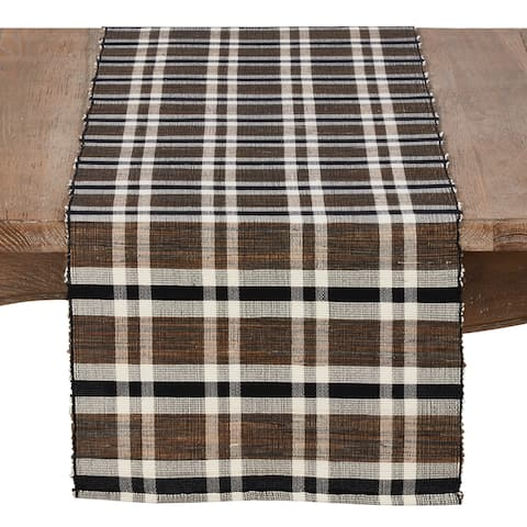 """Table Runner with Plaid Woven Water Hyacinth Design - 16"""" x 72"""""""