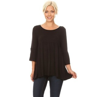 Women's Solid Babydoll Pleated Tunic Top