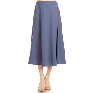 Women's Casual Basic Solid Pleated Mid-Length Skirts