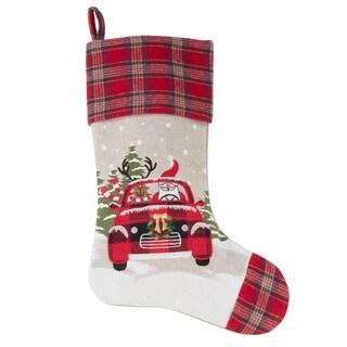 Santa And Reindeer Car Design Holiday Stocking