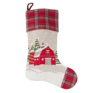 Christmas Stocking With Holiday Barn Design And Red Plaid Border