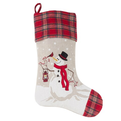 Holiday Stocking With Happy Snowman Design And Plaid Border