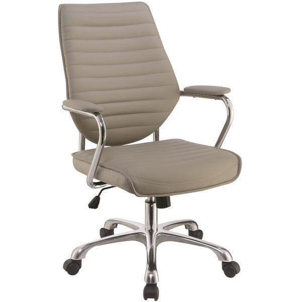 Modern Design Adjustable Swivel Taupe with Chrome Base Office Chair