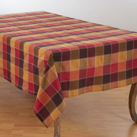 Stitched Plaid Cotton Blend Tablecloth