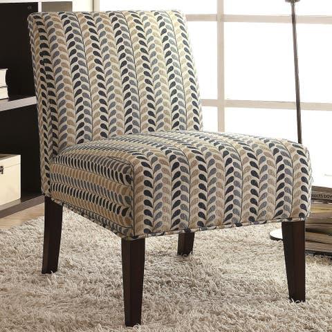 Modern Design Blue and Beige Leaf Patterned Design Accent Chair