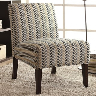 Modern Design Blue and Beige Leaf Patterned Design Accent Chair