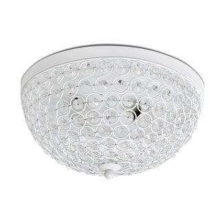 Elegant Designs 2 Lt Elipse Crystal Flush Mount, White