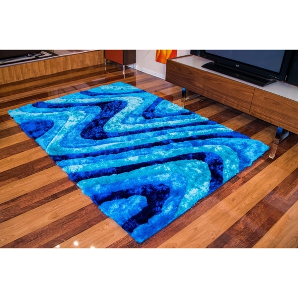 """""""3D Shaggy"""" Hand Tufted Shag Area Rug in Ocean Current (5-ft x 7-ft) - 5' x 7'"""