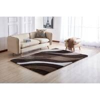 Aria Soft Pile Modern Design Shaggy Area Rug. 100% Polyester.