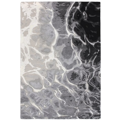 "Liora Manne Corsica Water Wool Indoor Rug Black/white 7'6"" X 9'6"" - 7'6 x 9'6"
