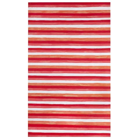Liora Manne Colorful Stripes Outdoor Rug (3'6 x 5'6) - 3'6 X 5'6