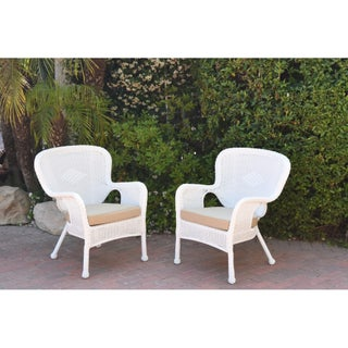 Set of 2 Windsor White Resin Wicker Chair with Cushion