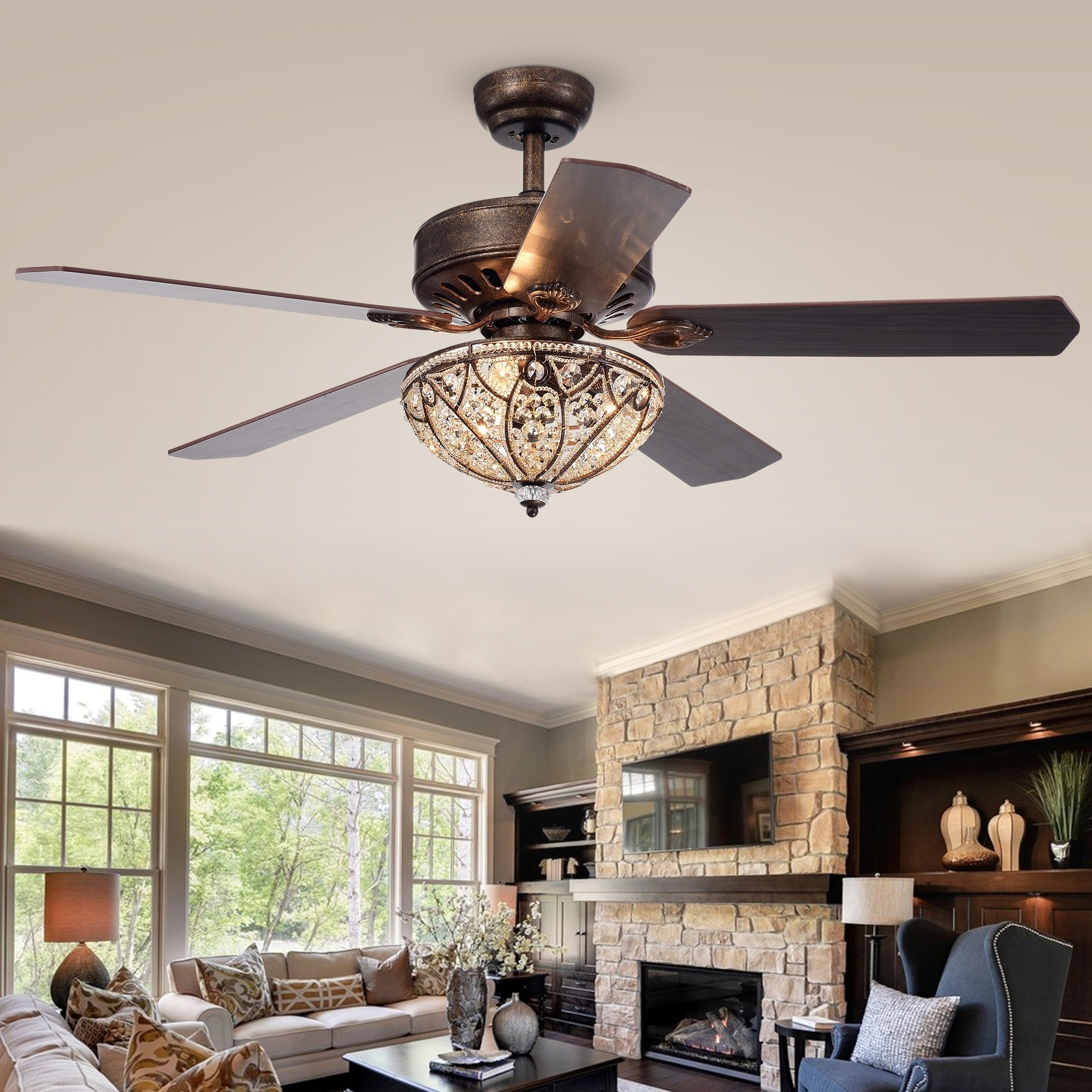 Gliska 52-Inch 5-Blade Rustic Bronze Lighted Ceiling Fans w Crystal Shade  Optional Remote Control (incl 2 Color Option Blades)
