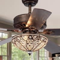 Gliska 52-Inch 5-Blade Rustic Bronze Lighted Ceiling Fans with Crystal Bowl Shade (Remote Controlled & 2 Color Option Blades)