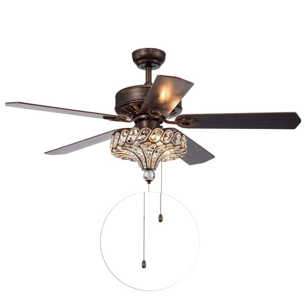 Pilette 5-Blade Antique Speckled Bronze Lighted Ceiling Fan w Crystal Shade Optional Remote Control (incl 2 Color Choice Blades)