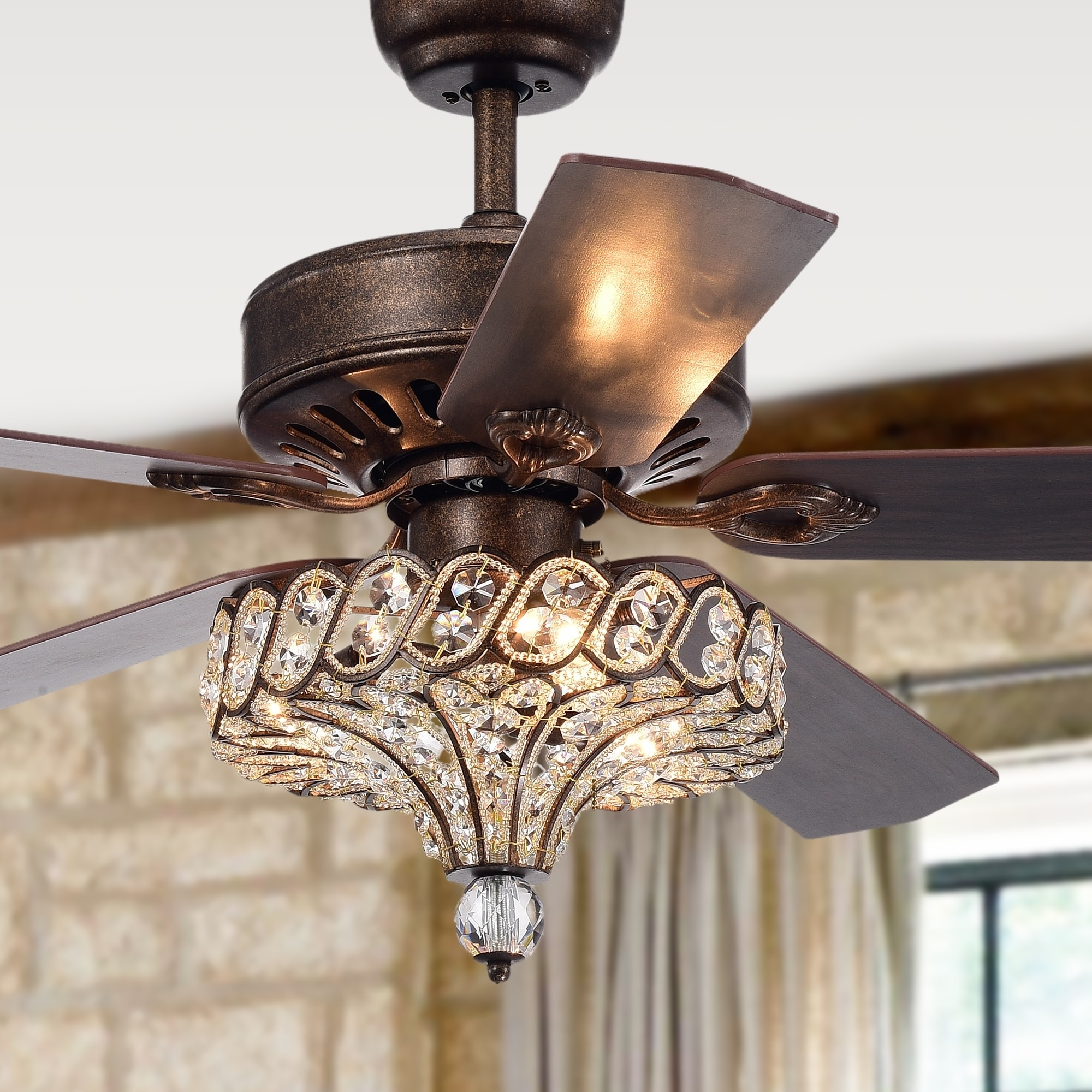 Shop Black Friday Deals On Pilette 5 Blade Antique Speckled Bronze Lighted Ceiling Fan W Crystal Shade Optional Remote Control Incl 2 Color Choice Blades On Sale Overstock 22966552
