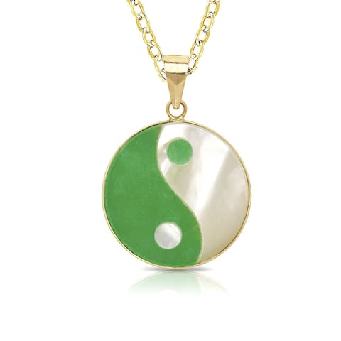Curata 14k Gold Green Jade or Black Onyx Small Ying Yang Necklace (14mm x 22mm)