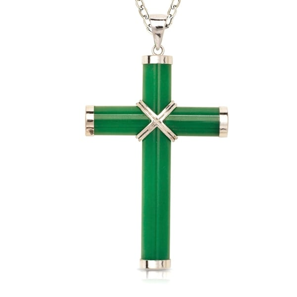 f7887c720fa5 Shop Curata 925 Sterling Silver/Rhodium Men's Extra-large Green Jade Cross  Necklace (35mm x 60mm) - Free Shipping Today - Overstock - 22966595