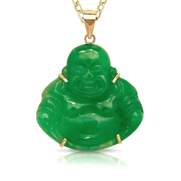Curata 14k Gold Carved Jade/Onyx Buddha Necklace (24mm x 30mm)(4 colors)