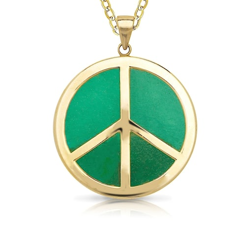 Curata 14k Gold Green Jade or Black Onyx Peace Sign Necklace (20mm x 28mm)