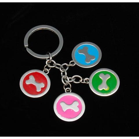 Anima Silver Four Bones Dangling Key Chain , Multi-Colors