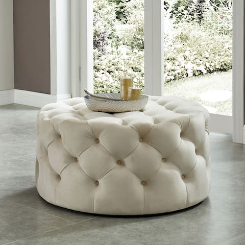 Nadia II Transitional Tufted Round Ottoman by FOA