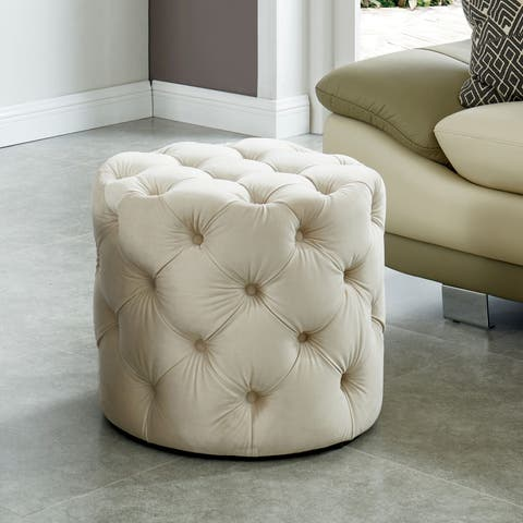 Furniture of America Nadia III Tufted 20-inch Round Ottoman