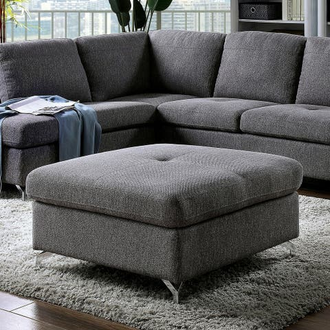 Furniture of America Veto Contemporary Grey Linen Square Ottoman